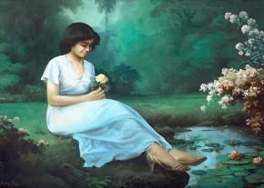 girl and lotus by mahyuddin s.