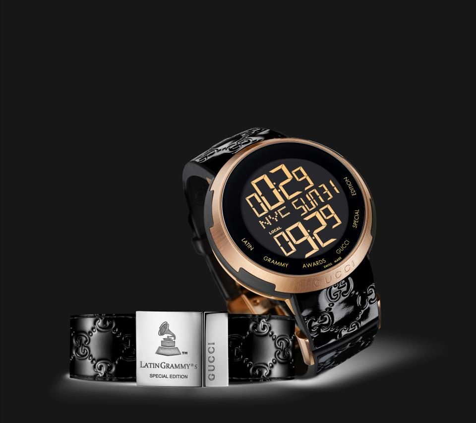 b150fd2ac5d The case-back also features the Latin Grammy Awards special-edition label.  The I-Gucci also features a changing watch face from a dual time-zone dial  in ...