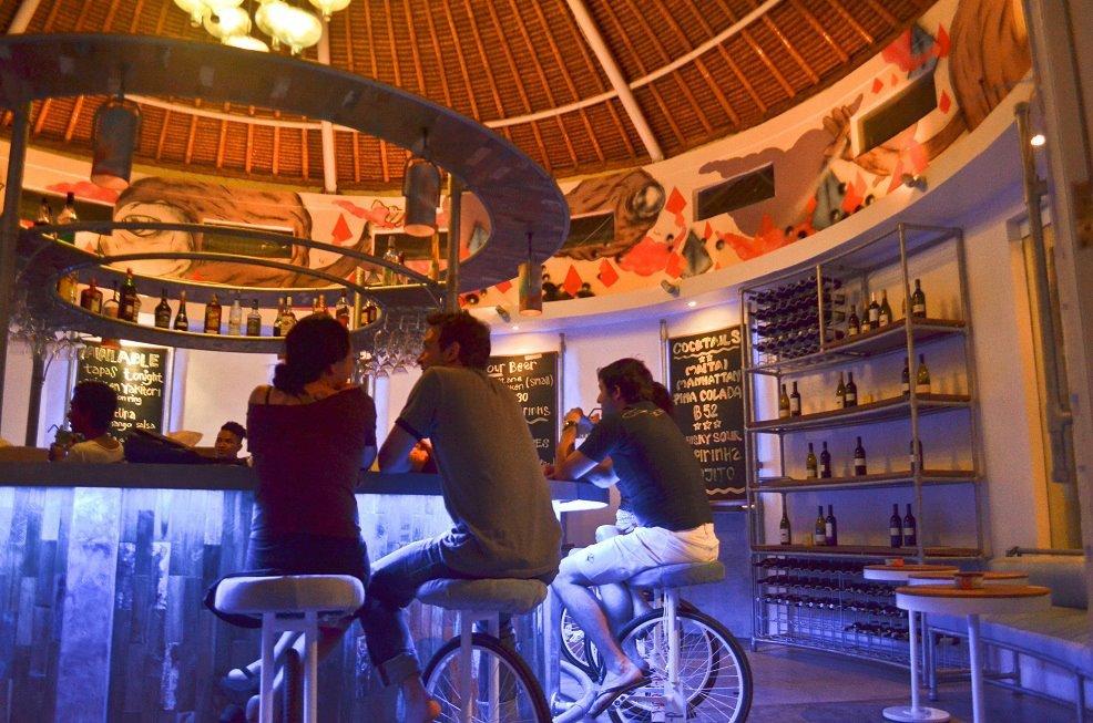 The main bar and unicycle bar stoools - RoundBar Ubud