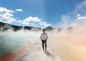 Joe Taslim at Wai-o-tapu geothermal park