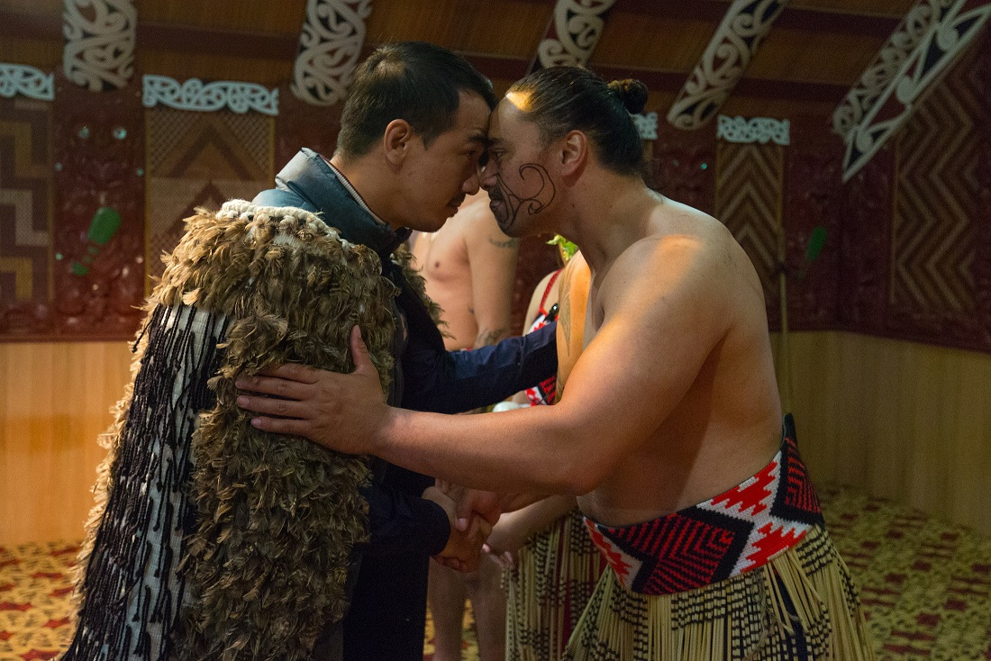 Joe Taslim doing Hongi
