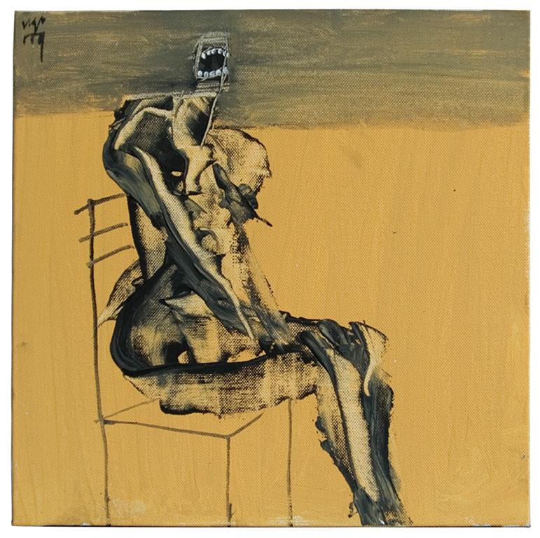 'Portable'---Ugo-Untoro---seated-figure-no-6-30x30cm-acrylic-on-canvas-2009