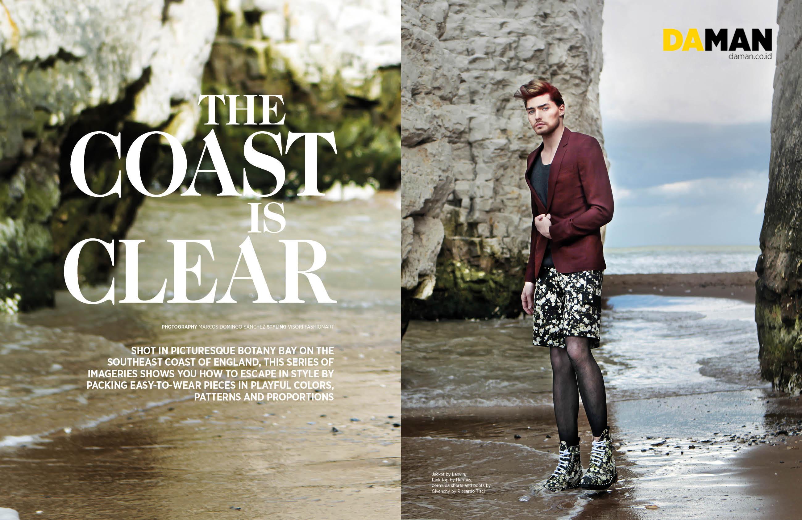 fashion spread the coast is clear da man magazine. Black Bedroom Furniture Sets. Home Design Ideas