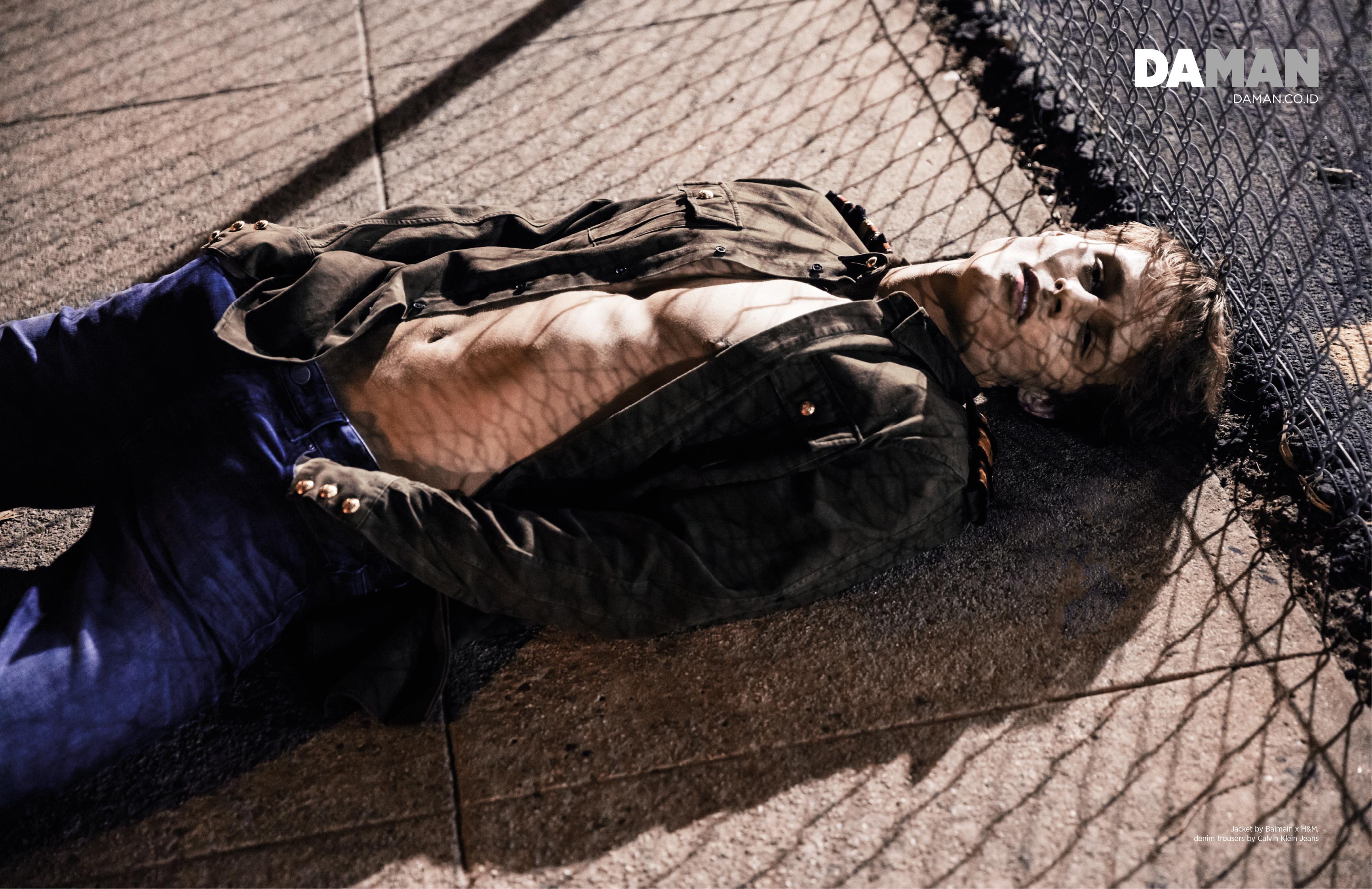 Andrew Raymond Thomas in Balmain x H&M and Calvin Klein Jeans
