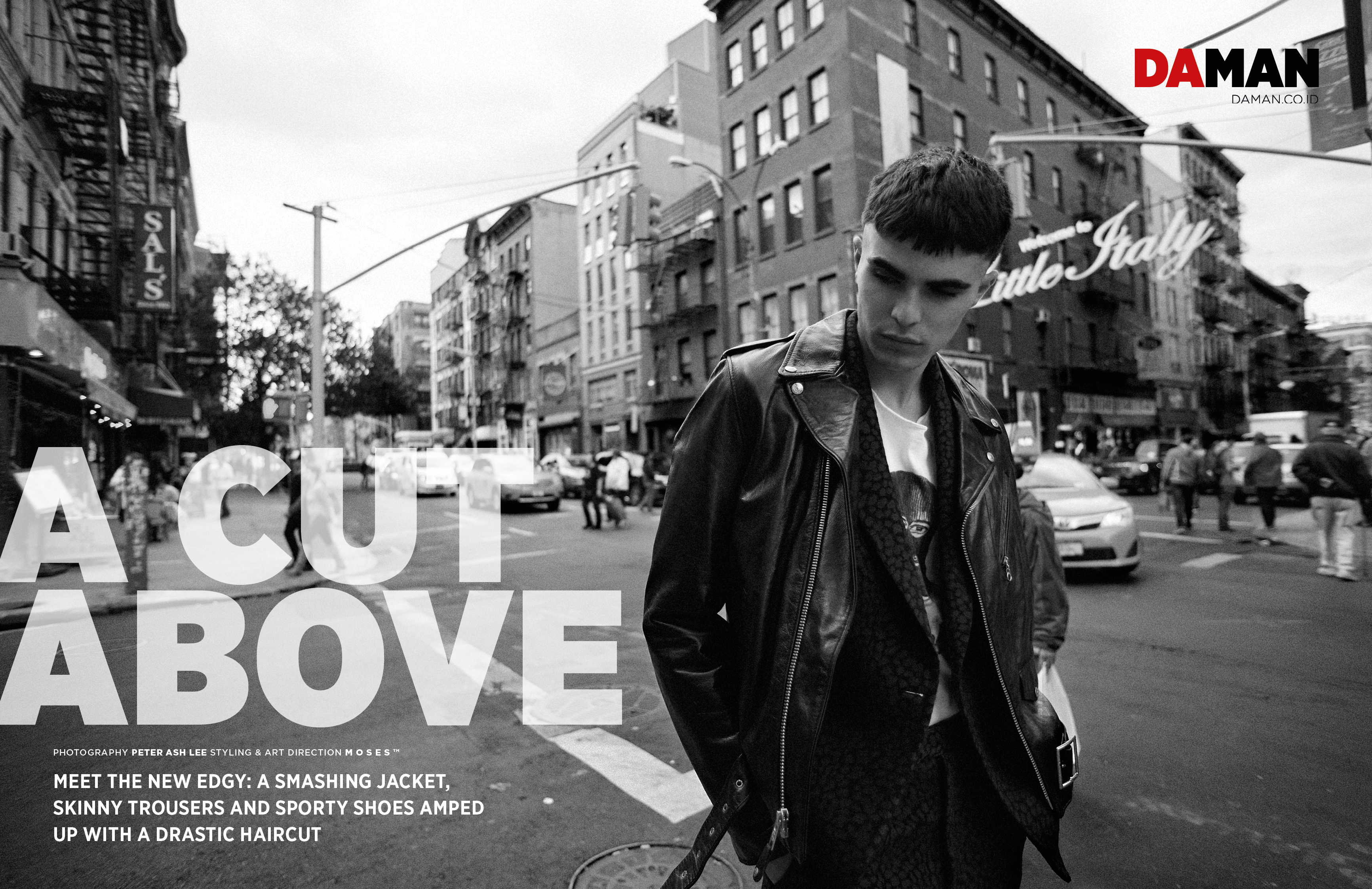 A Cut Above DA MAN fashion spread by Peter Ash Lee with Diego Villareal in Schott NYC Calvin Klein Collection Life in Perfect Disorder_DPS_