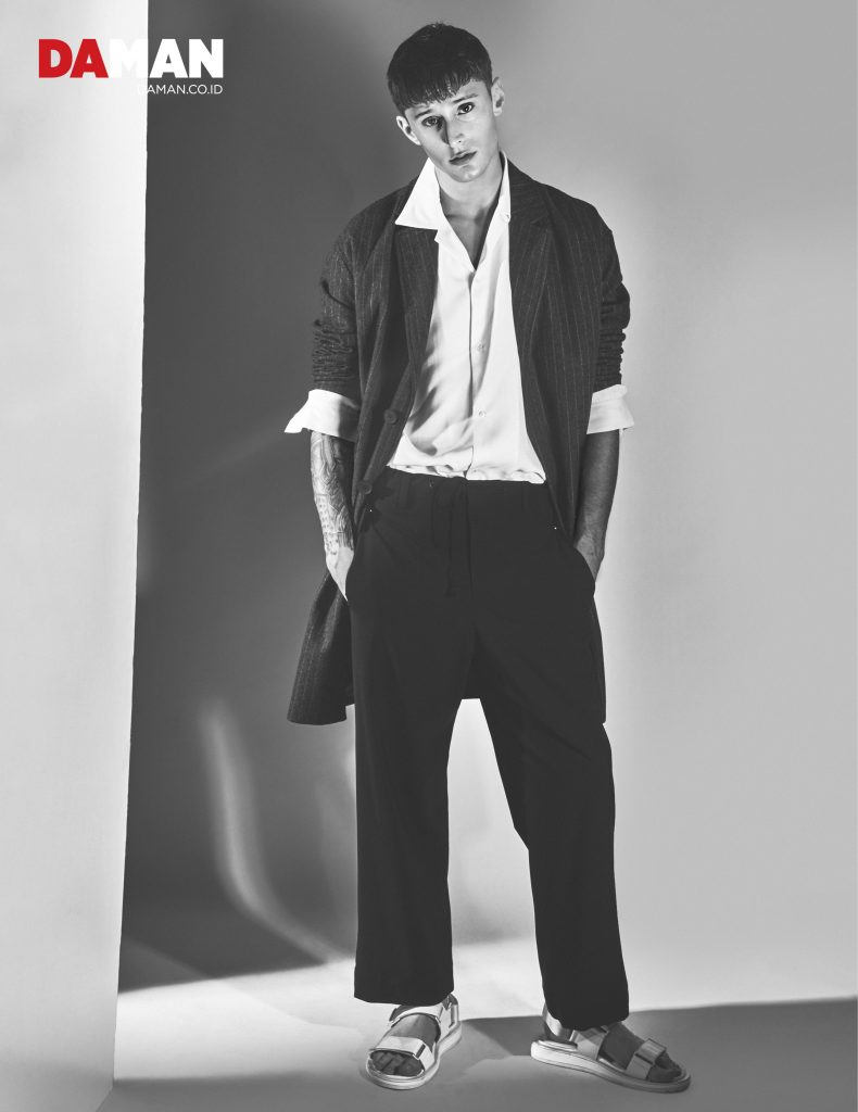 ONLINE   Abiah & Jeremy - Shirt by Sandro coat by Ermenegildo Zegna trousers by Tim Coppens sandals by Calvin Klein