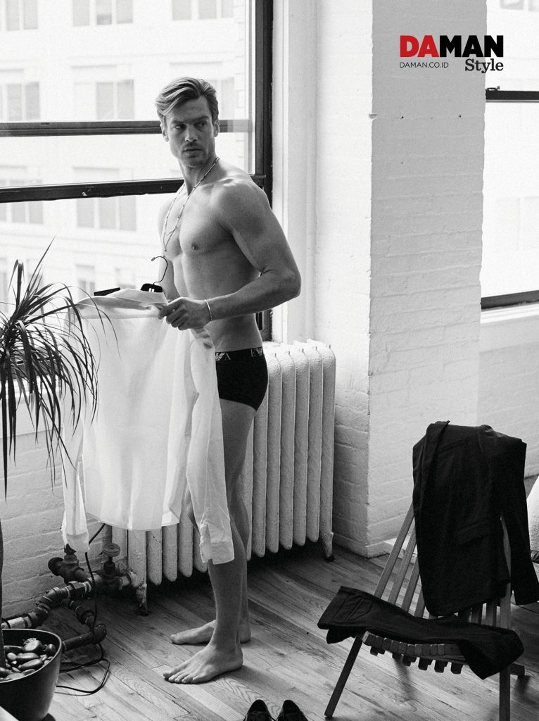 JASON MORGAN_SS2016_OUTTAKES_shirt by sandro, briefs by Emporio armani, suit by Dior homme, cuff by laura lobdell