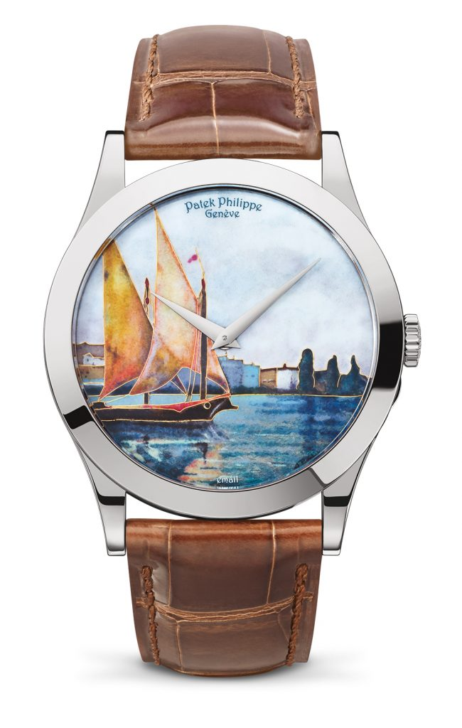 Patek Philippe Lake Geneva Barques Calatrava watch with cloisonné enameled  dial