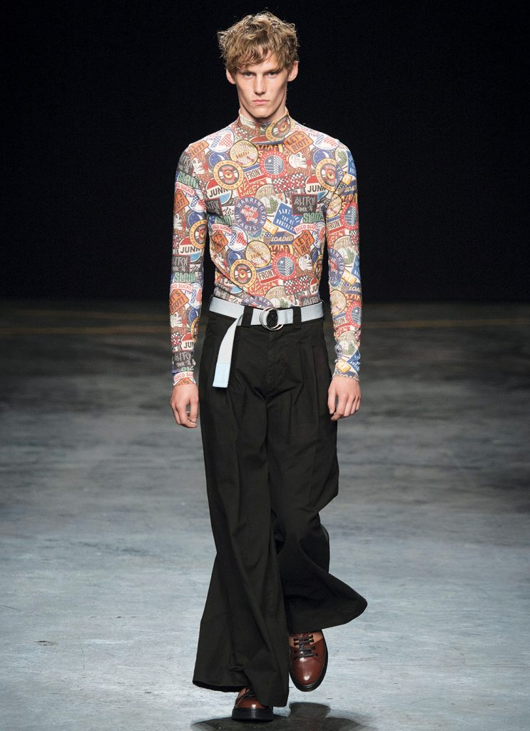 A patchwork-filled sweater and widelegged trousers from Topman Design