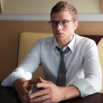 Jonny Weston Allegiant Divergent Shirt by calvin klein, tie by emporio armani, glasses by oliver Peoples