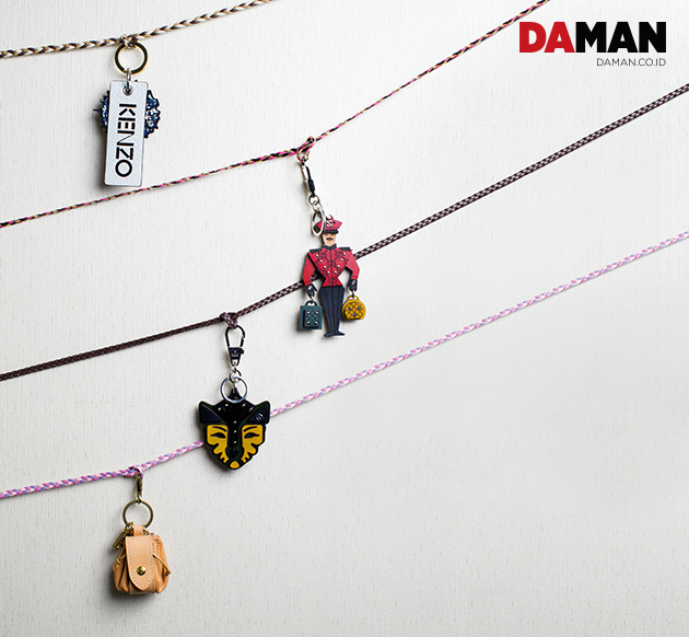 4 BAG CHARMS TO BAG FROM KENZO, GIVENCHY