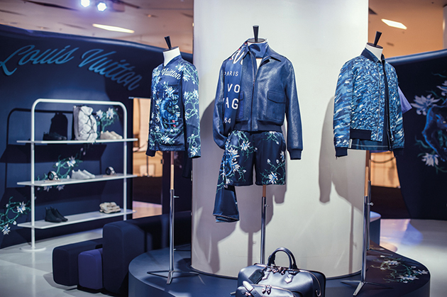 Louis Vuitton indigo leather jacket is one of the signature looks of the season