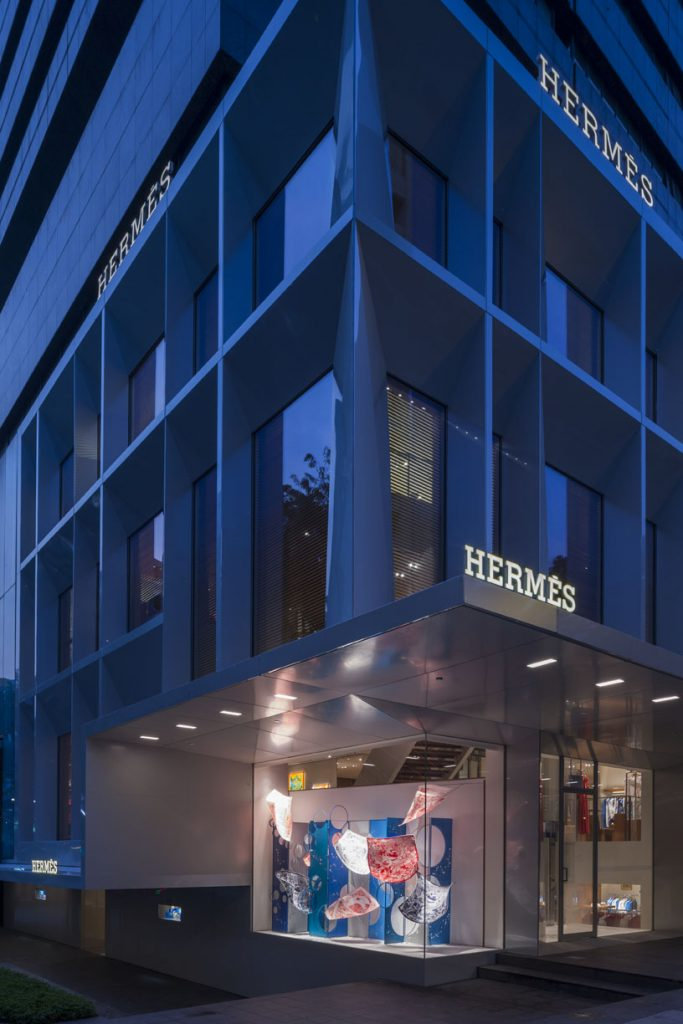 The facade of Hermes Singapore at Liat Towers