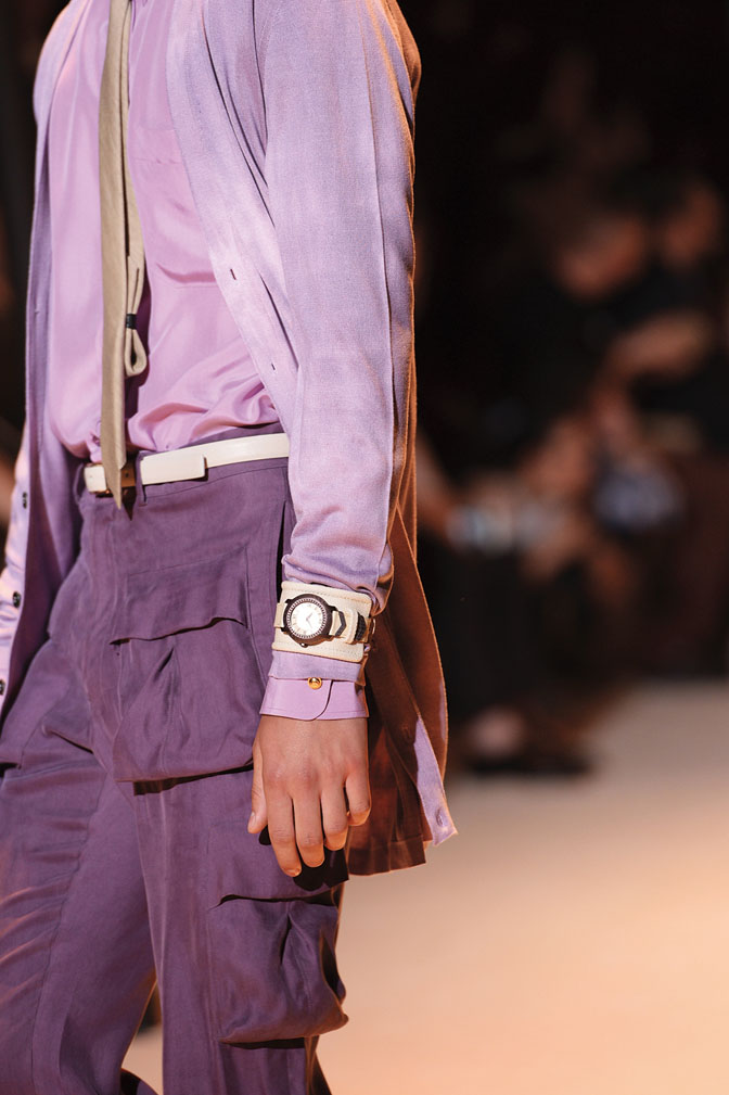 Versace spring-summer 2016 shades of purple and watch cuff worn over a suit-exclusive interview da man style-small