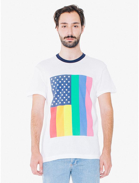 american apparel pride 2016 collection pride flag  t-shirt men