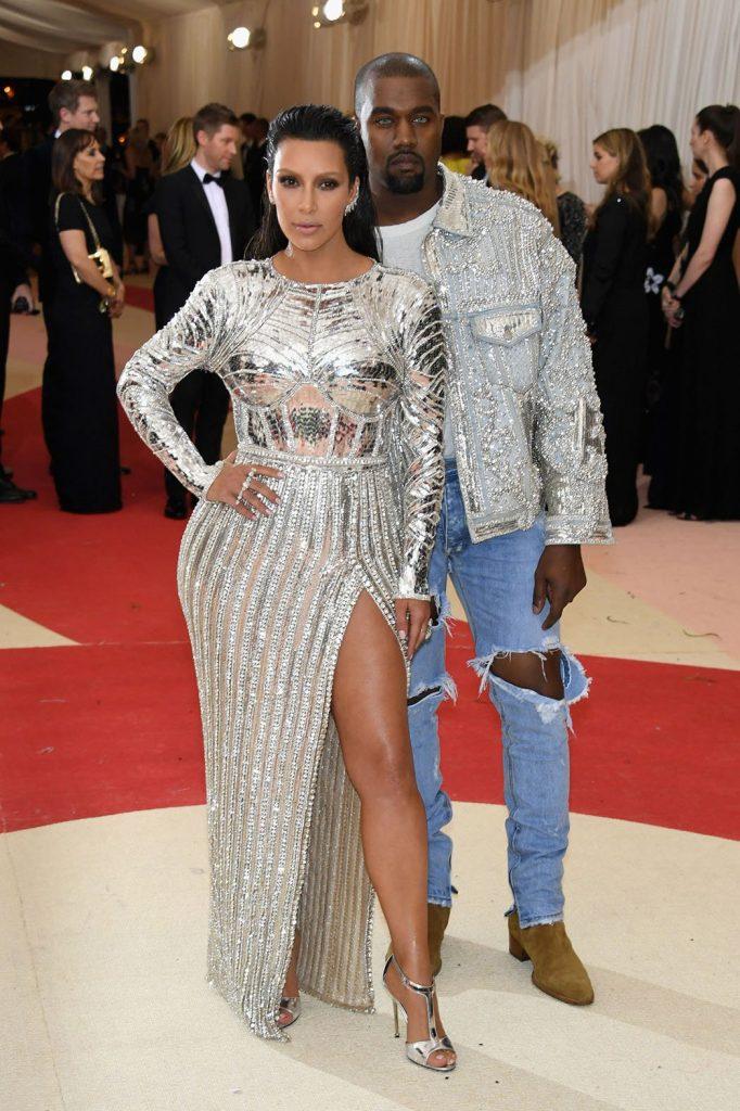 kim kardashian and kanye west at met gala 2016