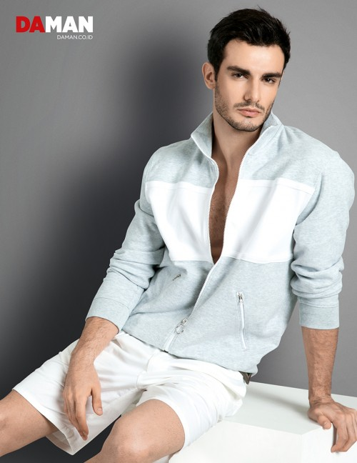 Models Felipe Izing, Rodolfo Rodriguez Silva, Tony Hernandez in Jacket by Lacoste Live, shorts by Massimo Dutti