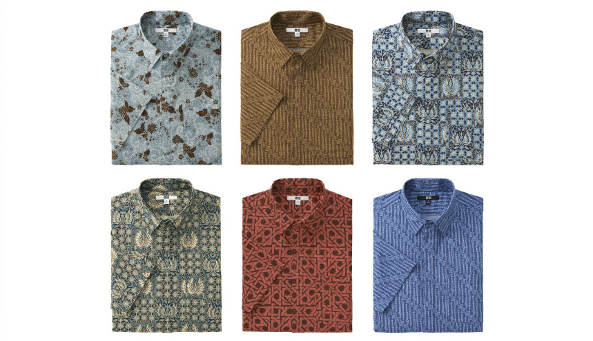 uniqlo batik collection short sleeved shirt