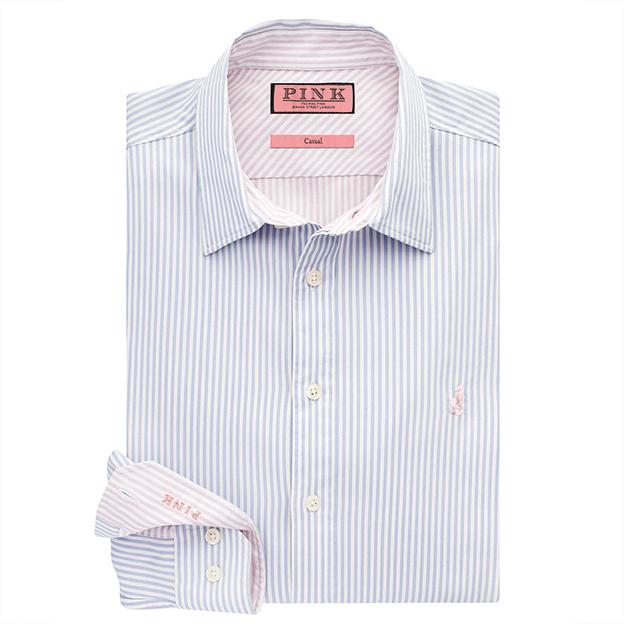 PANTONExThomas Pink - Albin Stripe Classic Fit Button Cuff Shirt