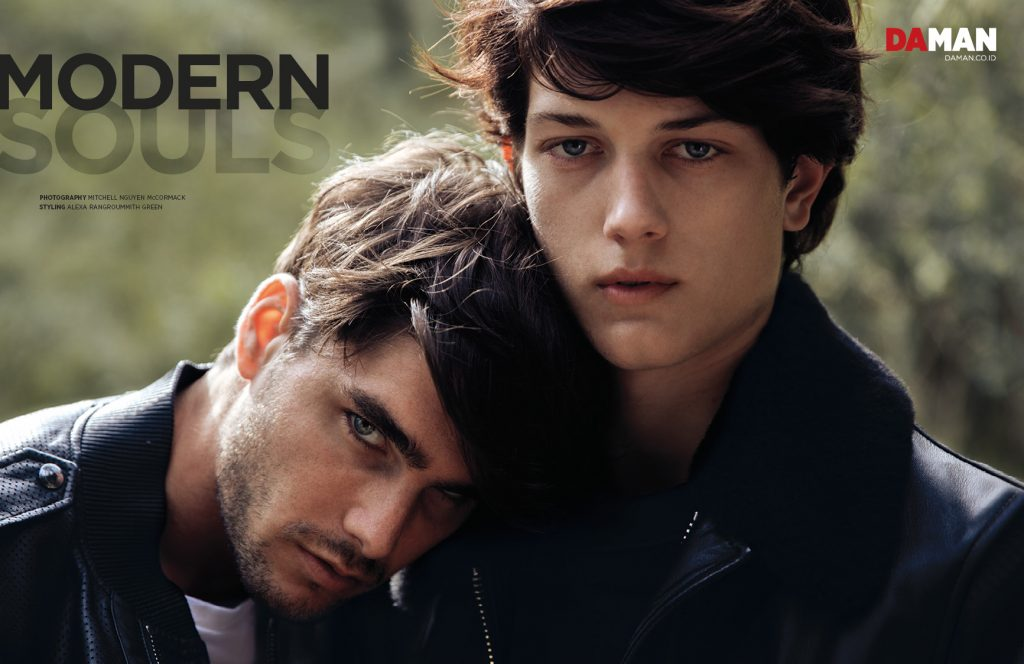 Sam Evans and Charlie Matthews in DA MAN Modern Souls. on charlie - outfit by ralph lauren, on Sam - leather jacket by tom Ford
