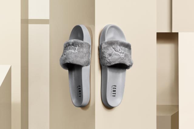 rihanna puma fenty fur slides-gray