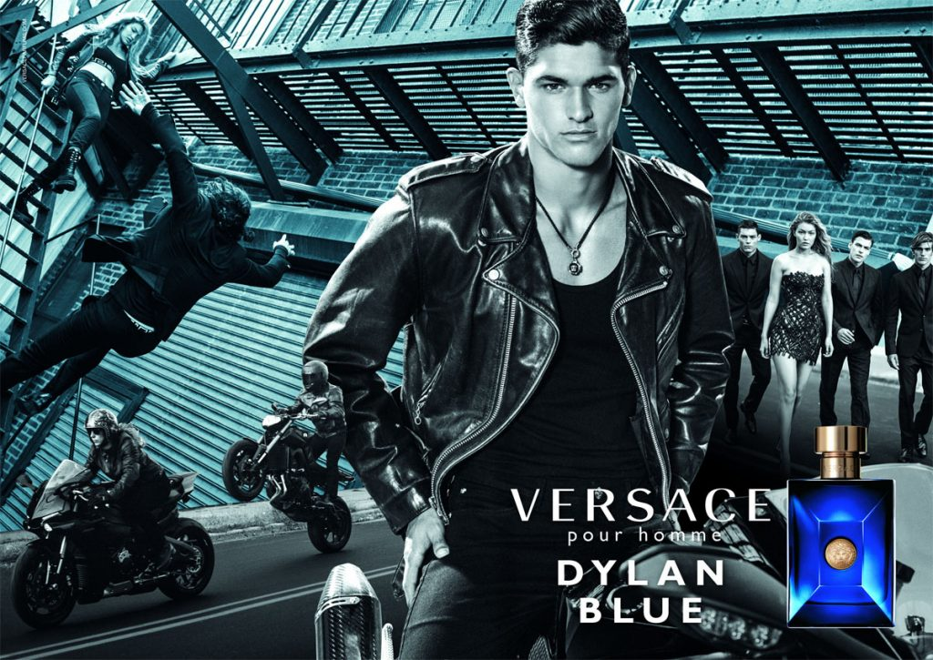 versace dylan blue fragrance ad campaign gigi hadid