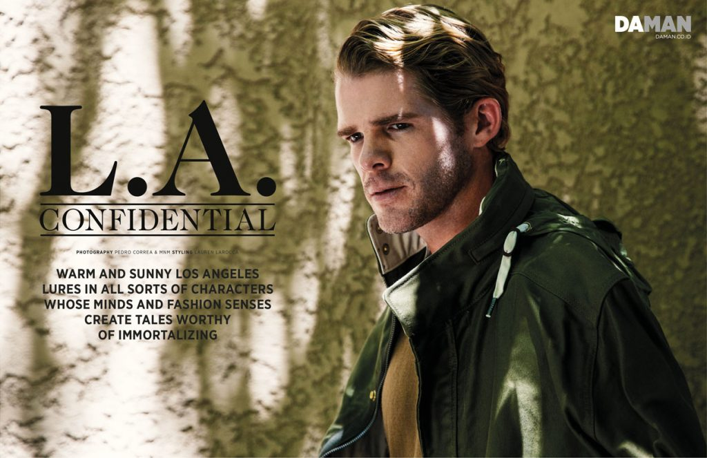 JAKE JENSEN for DA MAN web exclusive in Coat by G-Star RAW, sweater by American Apparel,