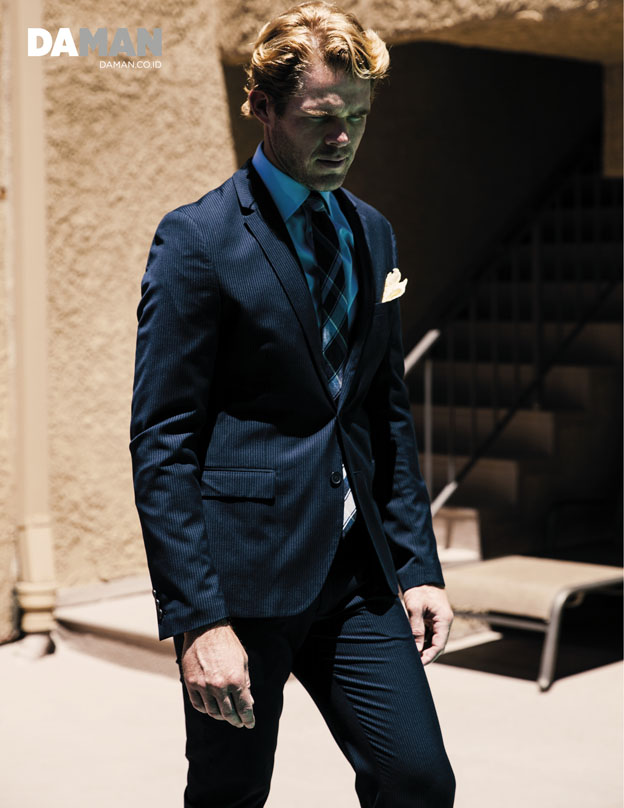 JAKE JENSEN for DA MAN web exclusive in Suit and shirt by Calvin Klein, tie by DKNY, pocket square by O'Harrow Clothiers