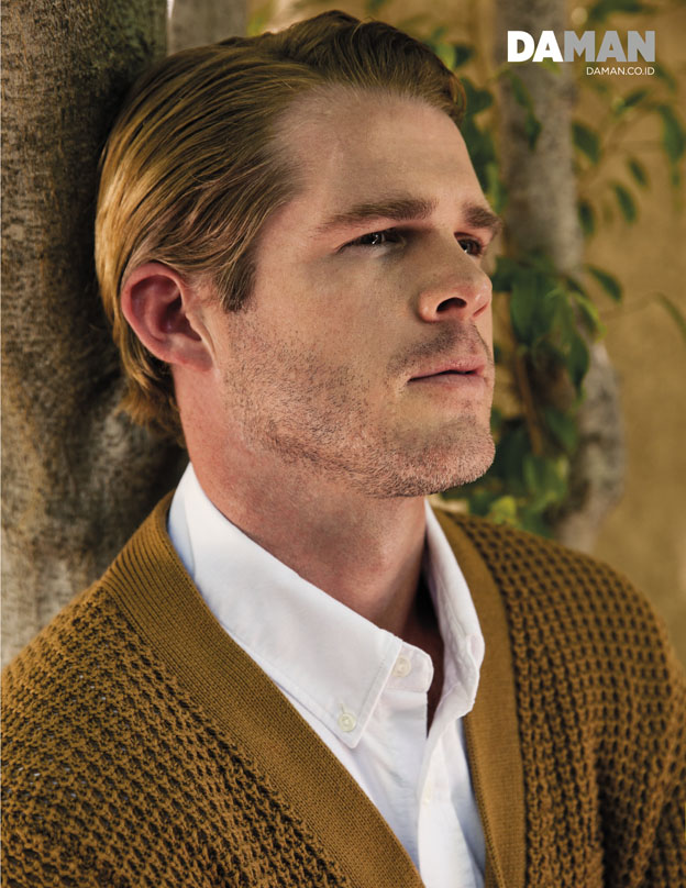 JAKE JENSEN for DA MAN web exclusive in Sweater by Fred Perry, shirt by Tommy Hilfiger