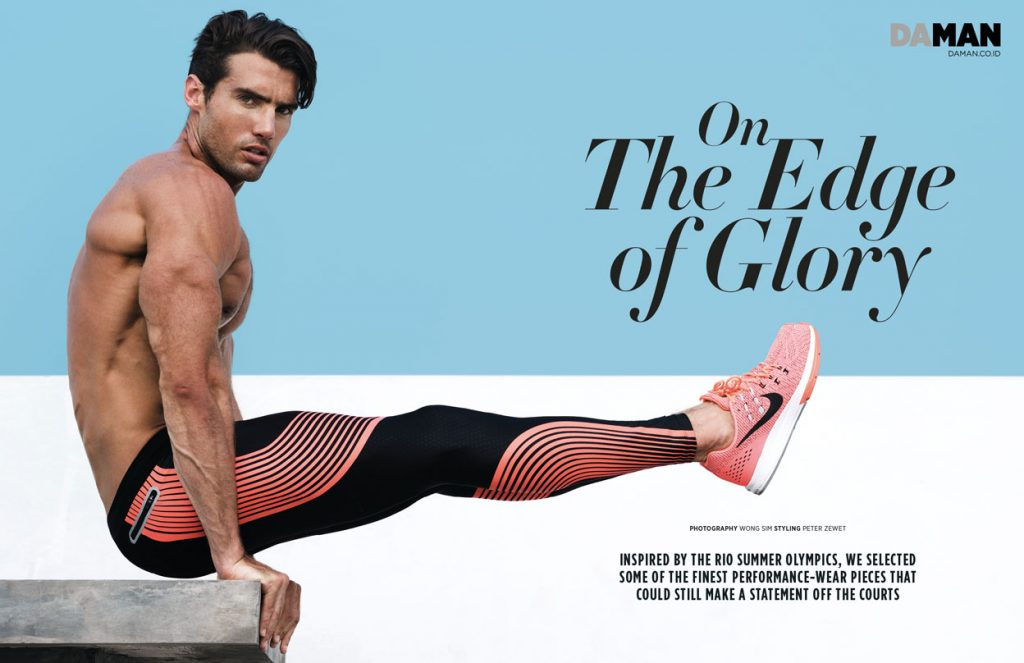 Mitchell Wick in Compression leggings and sneakers by Nike