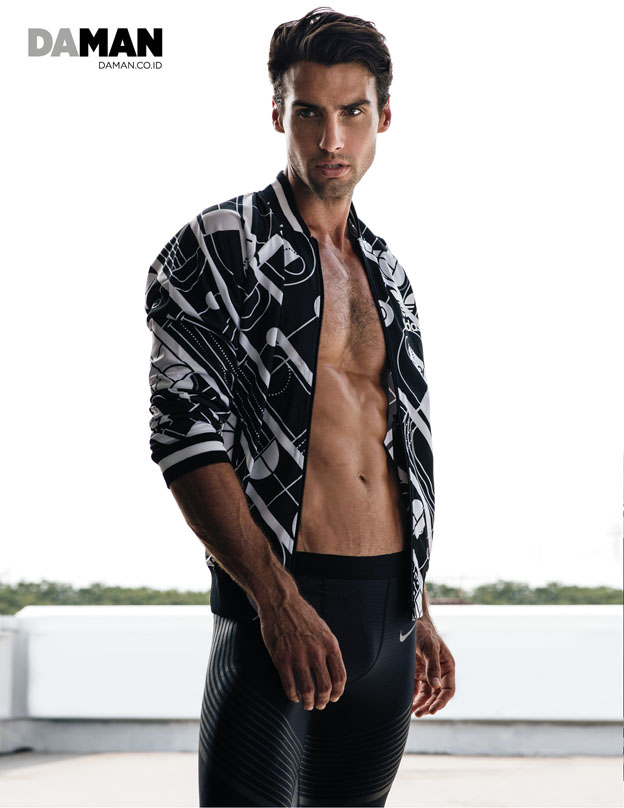 Outtake Mitchell Wick in Jacket by Adidas originals, compression leggings by Nike