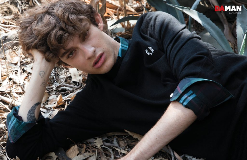 Model Jack Page Ford Model in Sweater and shirt by Fred Perry