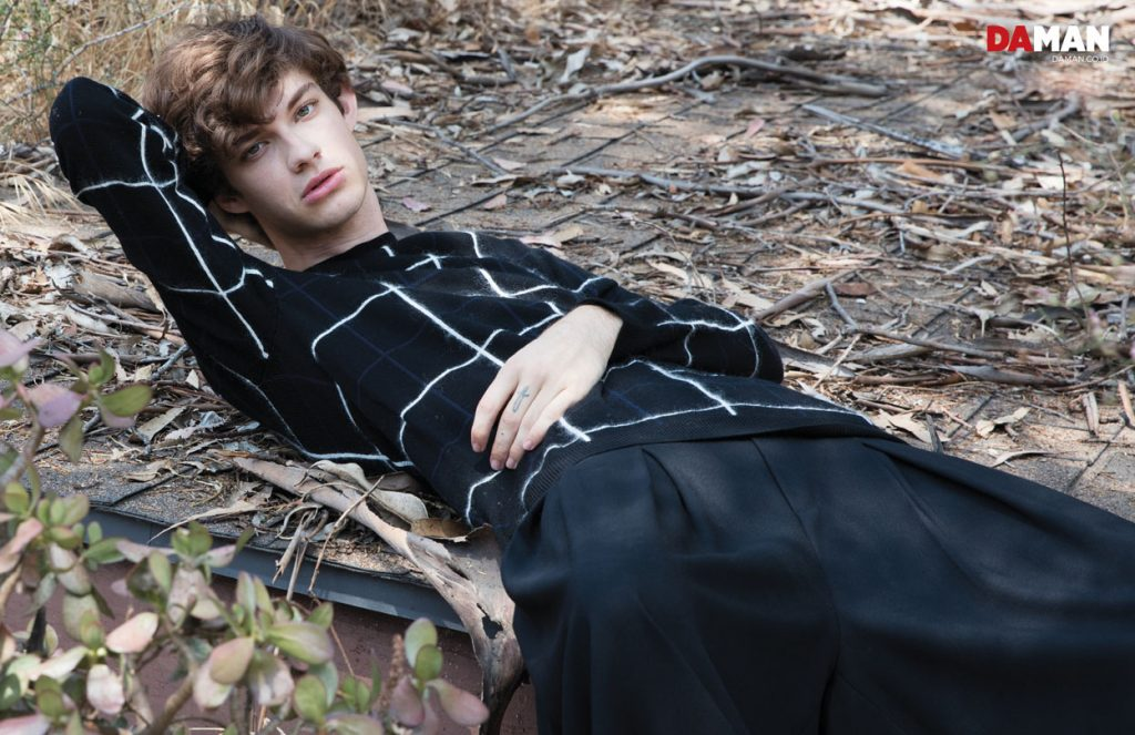 Model Jack Page Ford Model in sweater by Mcq by by Alexander McQueen