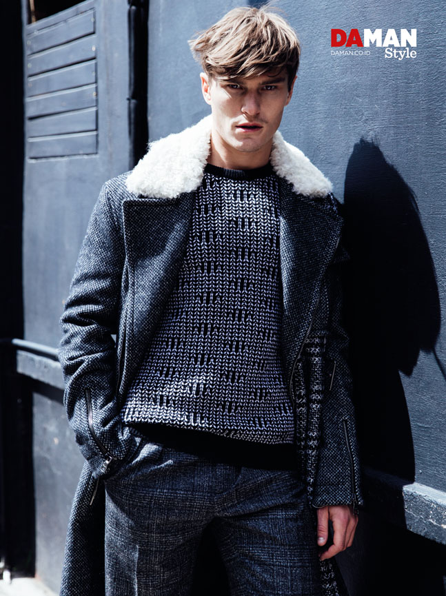 Oliver Cheshire for DA MAN Style FW16 in outfit by salvatore Ferragamo