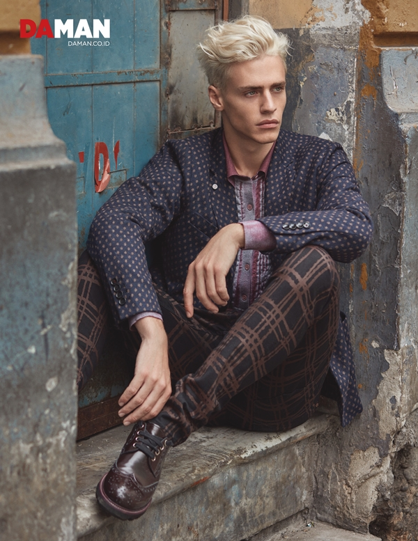 Model Oliver Stummvoll by GREG SWALES in Jacket by Massimo Rebecchi, shirt by Bottega Veneta, trousers by Vivenne Westwood, shoes by Giorgio Armani