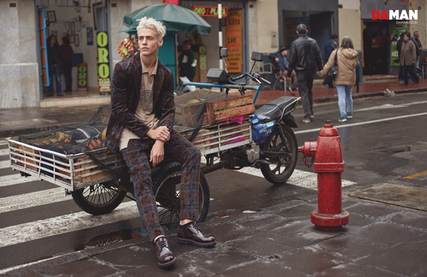 Model Oliver Stummvoll by GREG SWALES in Velvet suit by Antonio Marras, shirt by Sergio Davila, shoes by Giorgio Armani