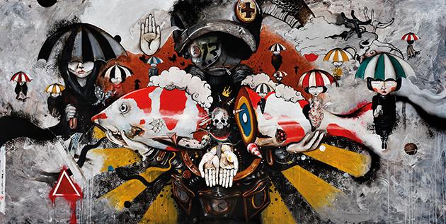 Oky-Rey-Montha---2016---War-of-Umbrella---150-x-300--cm