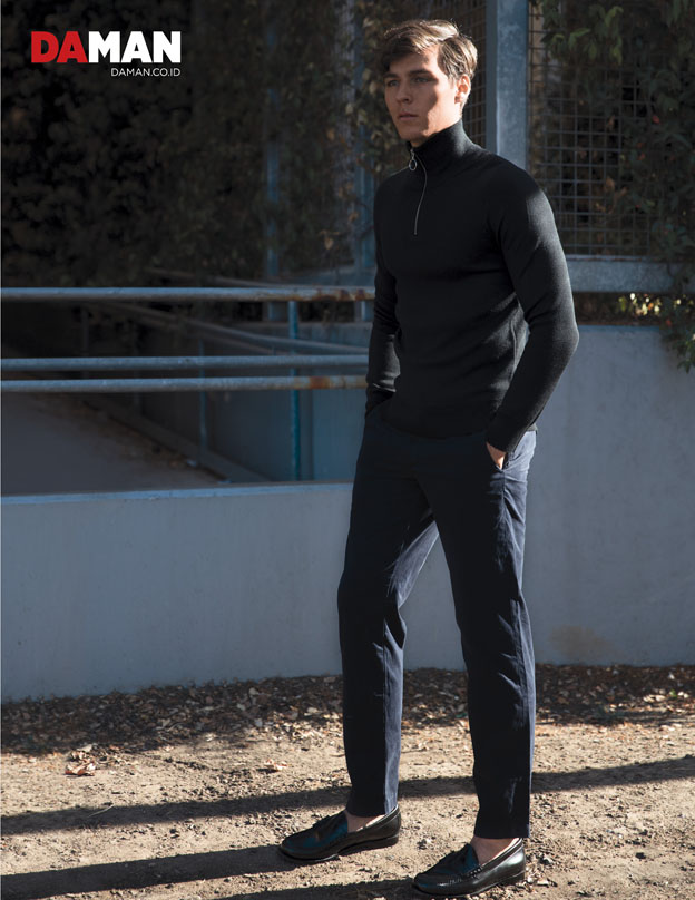 turtleneck by Sandro, trousers by club monaco, shoes by Bass Weejuns