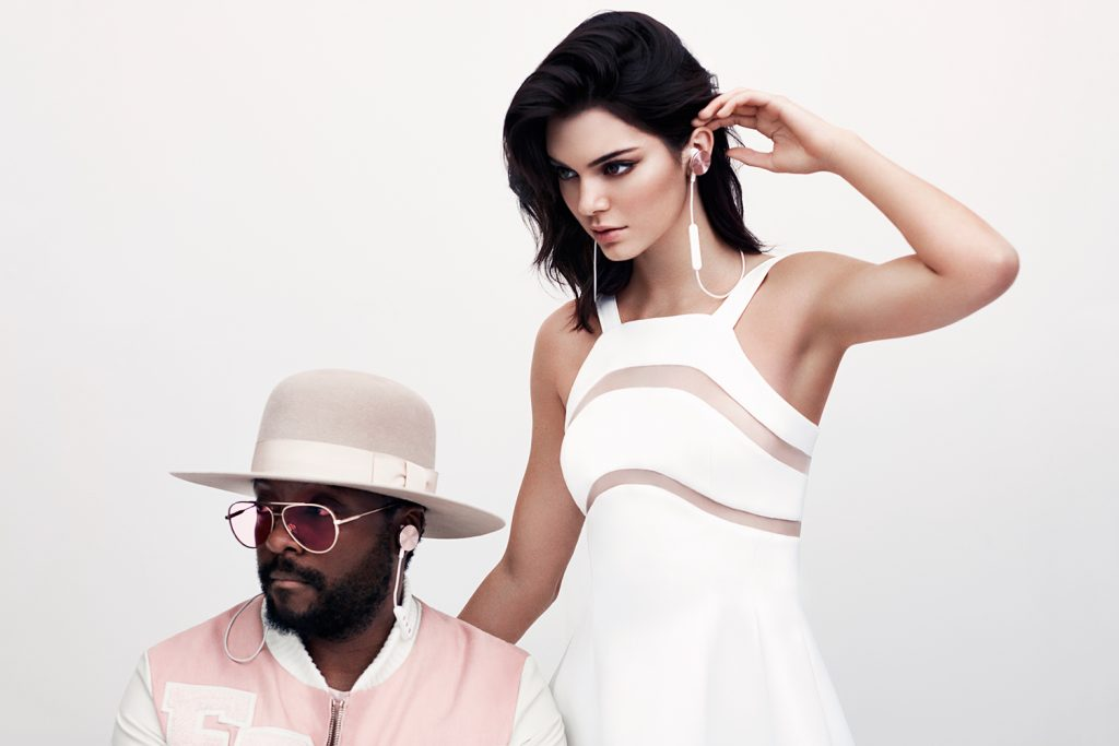 will.i.am and kendall jenner for buttons earphones
