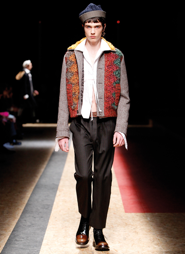 """A """"troubled"""" sailor-inspired ensemble on Prada's runway"""