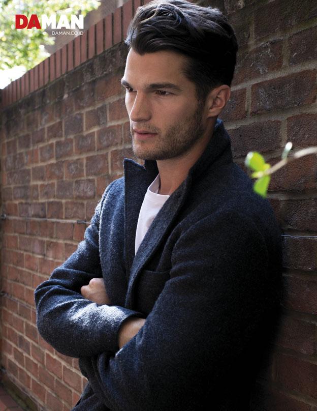 Model Jon Hosking in T-shirt by GAP, coat by Club Monaco
