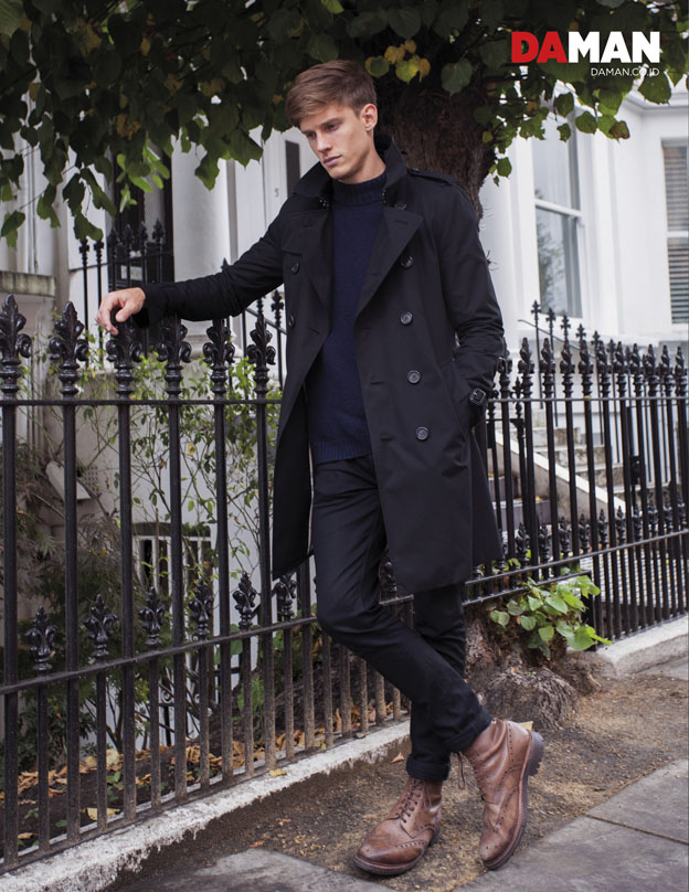 OUTTAKE Model Chris Doe in Coat by Burberry, jumper by Steven Allen, trousers by Nudie Jeans and shoes by Grenson