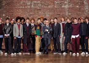 Tommy Hilfiger with the models during presentation