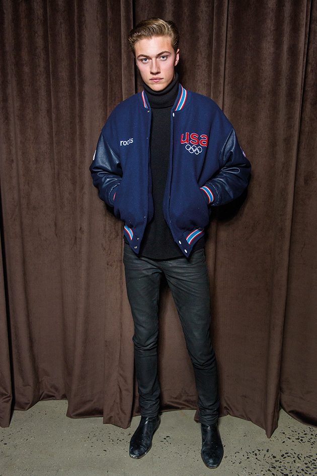 Lucky Blue Smith wearing a Roots jacket at BOSS menswear show