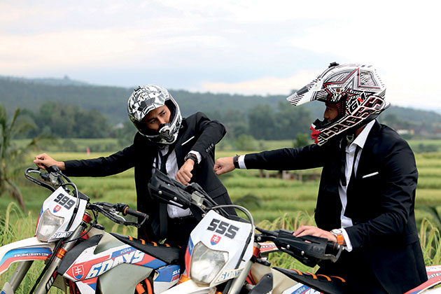 Getting ready for the moto cross scene at Jatiluwih, Tabanan