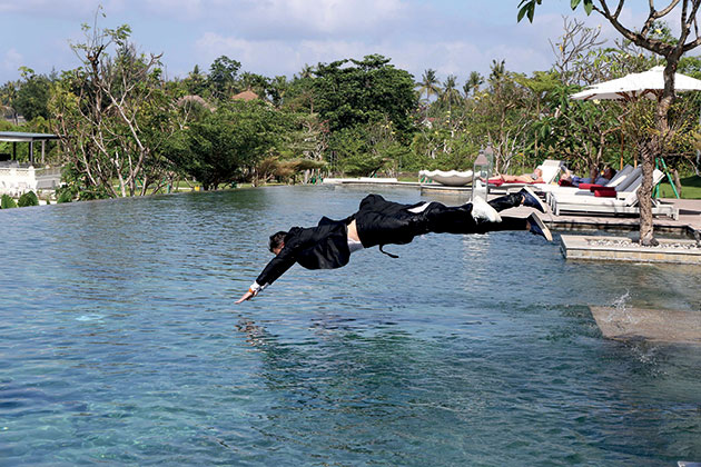 a plunge into the cool waters of the pool at Rumah Luwih
