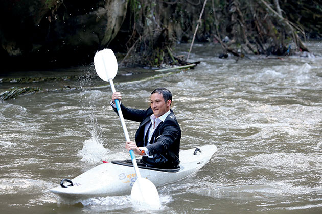 the two actors having a bit of fun kayaking