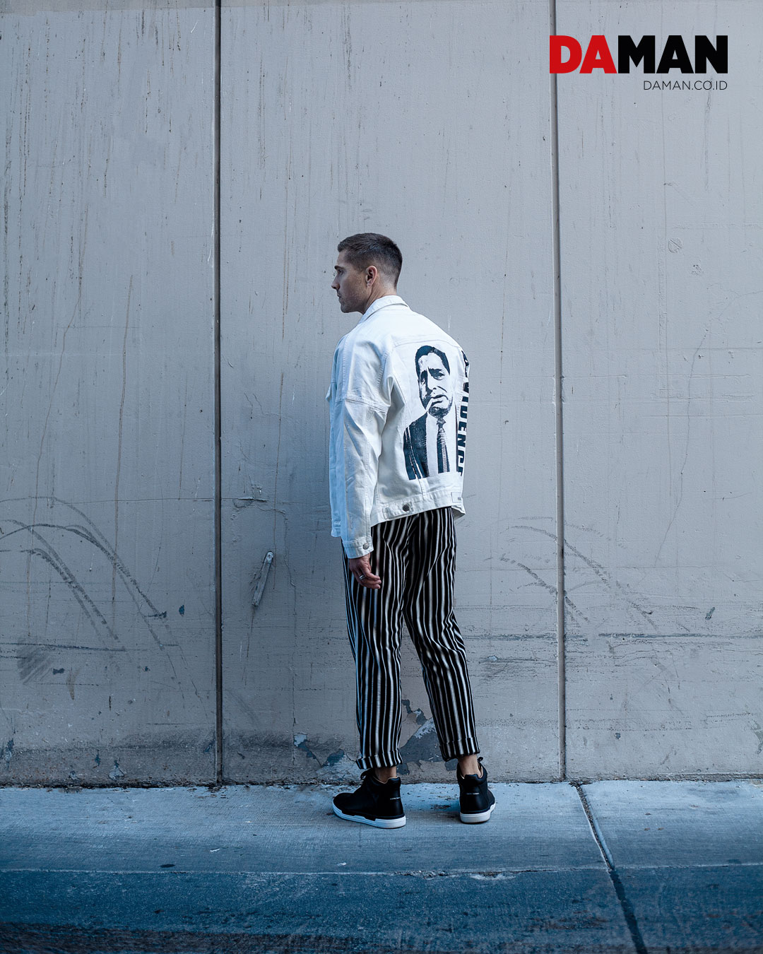 Jacket by Paraval, shirt and pants by William Lei