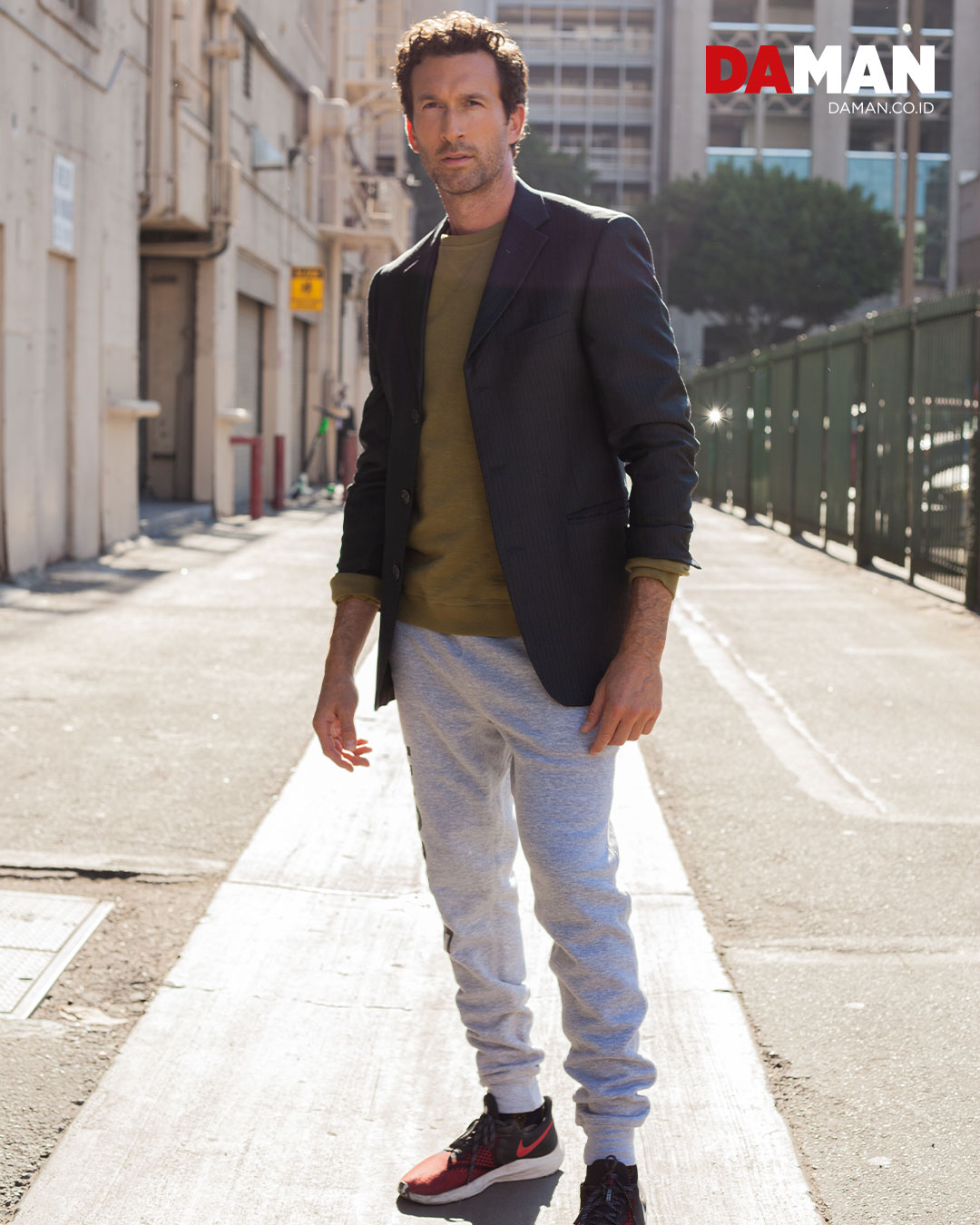 blazer by kenneth cole reaction, pullover by rupert & buckley, pants by uneek collection, shoes by Nike