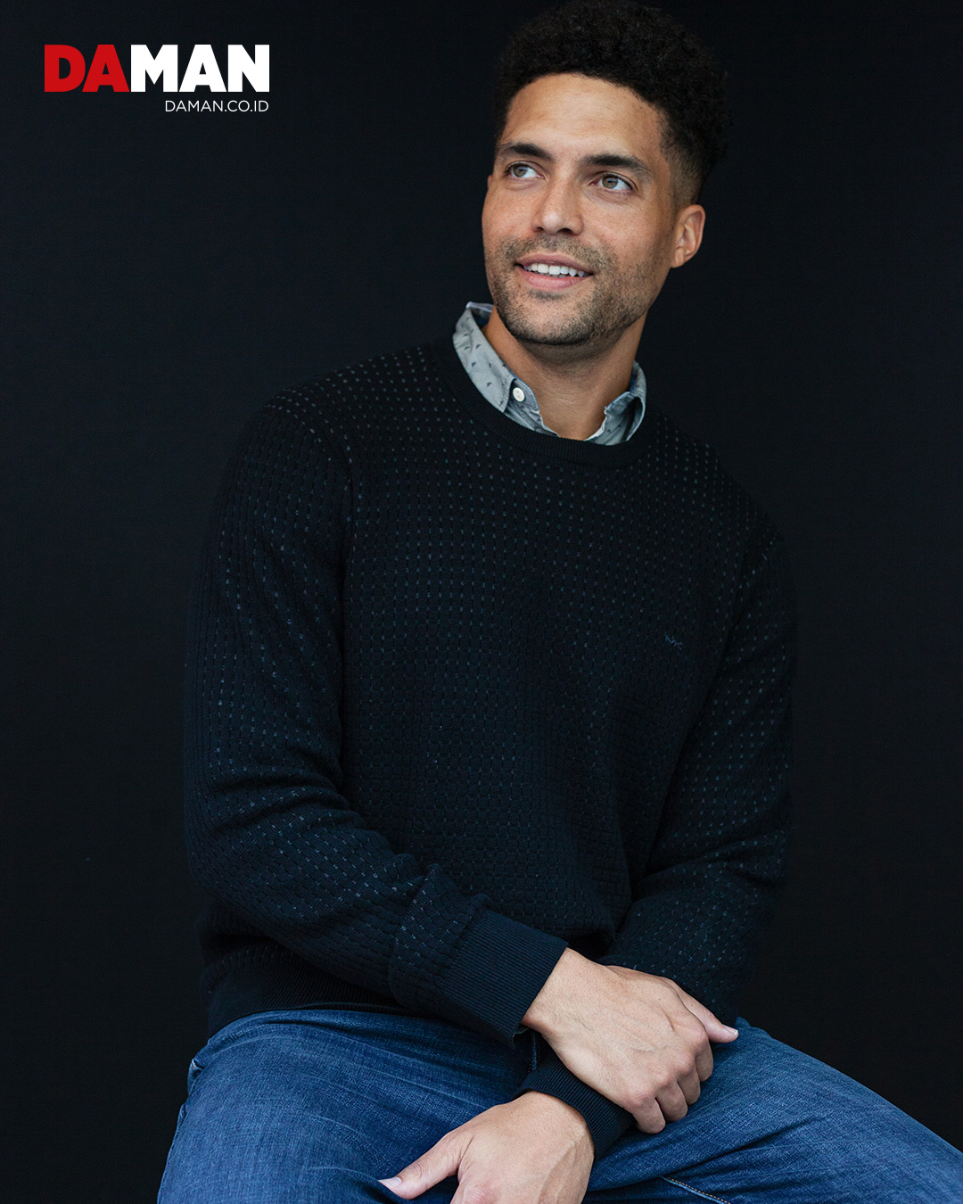 Sweater by Michael Kors; shirt by Rupert & Buckley; pants by Lucky Brand